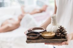 Natural Herbal Set for beauty skin care spa and massage. Aroma scent herb stock photo