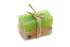 Natural herbal soaps isolated on white background Royalty Free Stock Images