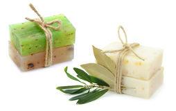 Natural herbal soaps with olive and daphne leaf Stock Photos