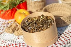 Natural herbal tea in a wooden box. stock photography