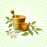 Natural herbalist products. Illustrated natural herbalist products with cup and flowers, with beams background Stock Photos