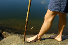 Natural Hike. A mid-day shot of a bare-foot hiker's legs while walking through a rocky shoreline with a walking stick as an aid.  Perfect for summertime camping Royalty Free Stock Photography