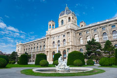 Natural History Museum, Vienna. Fountain with sculptures on foreground Royalty Free Stock Photo