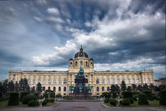 Natural History Museum - Vienna - Austria. Beautiful view of famous Natural History Museum with park and sculpture in Vienna, Austria Royalty Free Stock Images