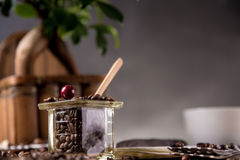 Natural home coffee on wooden table Stock Images