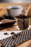 Natural home coffee on wooden table Royalty Free Stock Image