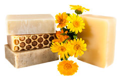 Natural home made soap and flowers Stock Image