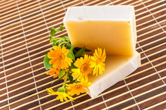 Natural home made soap on table mat Royalty Free Stock Images