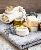 Natural Home Spa Setting with Bodycare Products Stock Images