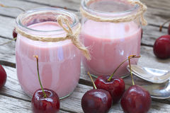 Natural homemade cherry yogurt. Closeup Stock Photography