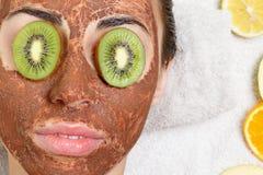 Natural homemade fruit facial masks. Fresh fruit Royalty Free Stock Photos