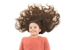 Natural homemade hair masks that give you healthy beautiful hair. Girl cute child with long curly hair isolated on white. Natural homemade masks that give you stock image