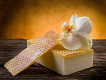 Natural homemade honey soap Stock Photos