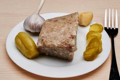 Galantine of delicious pork. Natural homemade jelly is a storehouse of vitamins for people of any age Stock Images