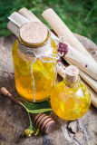Natural and homemade liqueur with honey, linden and alcohol Royalty Free Stock Images
