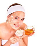 Natural homemade organic  facial masks of honey. Royalty Free Stock Photo