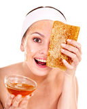 Natural homemade organic  facial masks of honey. Royalty Free Stock Photography