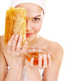 Natural homemade organic  facial masks of honey. Isolated Royalty Free Stock Photography