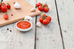 Natural homemade sauce of tomatoes, peppers and vegetables Stock Photos