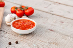 Natural homemade sauce of tomatoes, peppers and vegetables Stock Photography