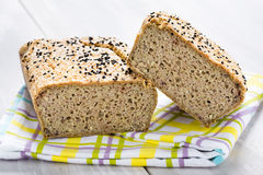 Natural homemade seeds and buckwheat bread Royalty Free Stock Photography