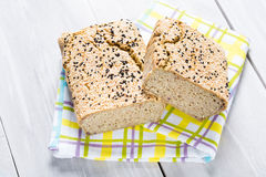Natural homemade seeds and buckwheat bread Stock Photo
