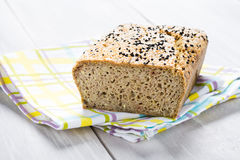 Natural homemade seeds and buckwheat bread Royalty Free Stock Images
