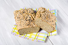 Natural homemade seeds and buckwheat bread Royalty Free Stock Photos