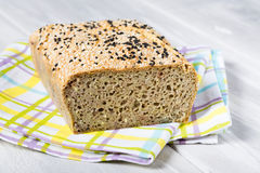 Natural homemade seeds and buckwheat bread Royalty Free Stock Photo