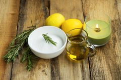 Natural homemade skincare products with baking soda, lemon, rose Royalty Free Stock Images