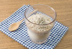 Natural Homemade Yoghurt with Oats in A Glass Royalty Free Stock Image