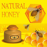 Natural honey. Abstract colorful background with working bees, honeycomb and honey jar Royalty Free Stock Photo
