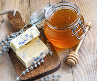Natural honey and lavender soaps Royalty Free Stock Photos