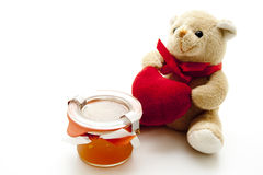 Natural honey plush bear and heart Stock Photos