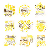 Natural Honey Products 100 Percent Organic Set Of Colorful Promo Sign Design Templates With Bees And Honeycombs. Bright Color Promotional Vector Labels With Royalty Free Stock Photo