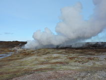 Natural Hot Spring. Steam. Iceland. Royalty Free Stock Photos