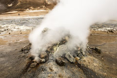 Natural Hot Springs geyser in Iceland with Steam Stock Photo
