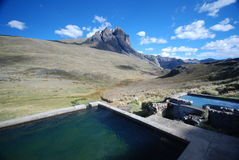 Natural hot springs in Peru. The amazing view from Huayhuash, Peru Royalty Free Stock Photography