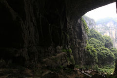 Huge cave and canyons. Chinas chongqing wulong natural three bridge, the location of transformers 4 and other  movies Royalty Free Stock Images