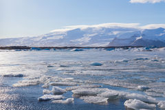 Natural ice lake during late winter south of Iceland Royalty Free Stock Photos