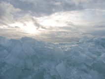 Natural ice pieces on lake coast Royalty Free Stock Photo
