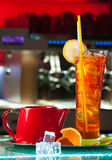 Natural ice tea in a glass with ice cubes Royalty Free Stock Photo