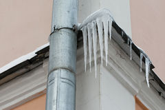 Natural icicles hanging near water pipe tube at roof. soft focus Stock Image