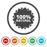 100% natural icon. Vector icon royalty free illustration