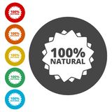 100% natural icon. Vector icon stock illustration
