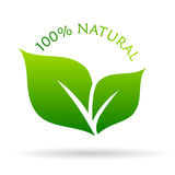 100 natural icon. On white background Stock Images