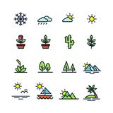 Isolated colorful natural icons on white background vector illustration