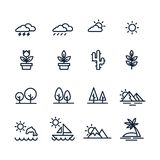 Natural icons set in line style stock illustration