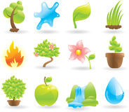 Natural icons set. Glossy illustrations Royalty Free Stock Photo