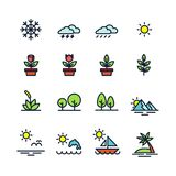 Natural icons set, colorful nature elements on white background stock illustration